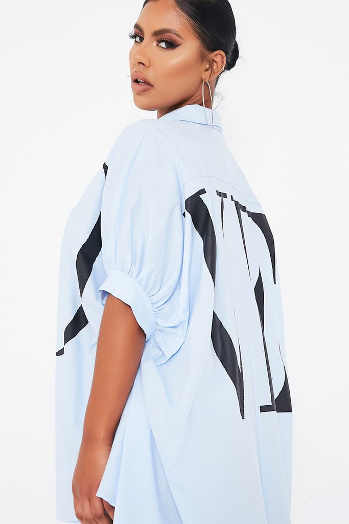 Sky Blue Oversized Printed Lo Shirt Dress view 4