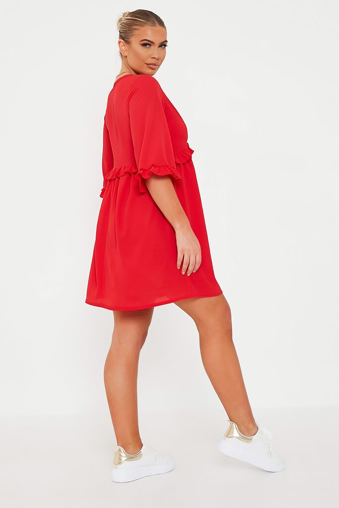 Red Ruffle Detail Plunge Smock Dress view 3