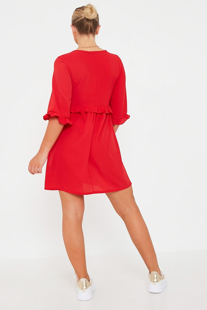 Red Ruffle Detail Plunge Smock Dress view 5