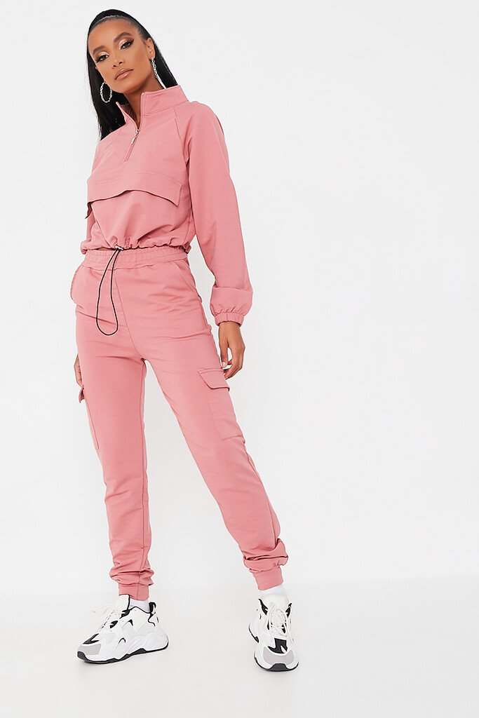 Pink Front Pocket Half Zip Lounge Set