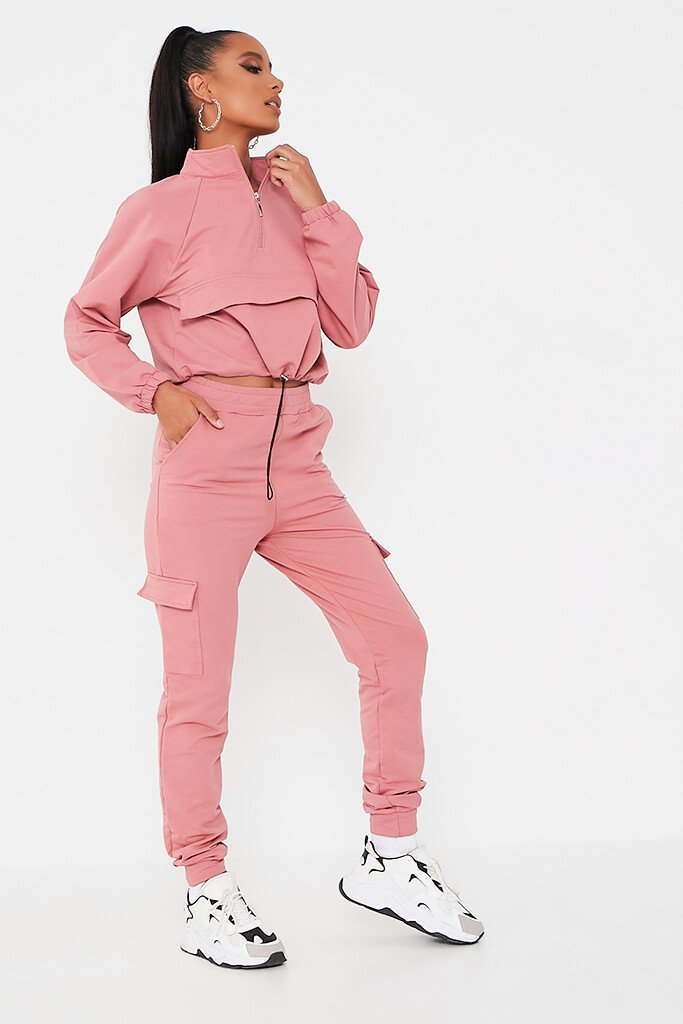 Pink Front Pocket Half Zip Lounge Set view 3