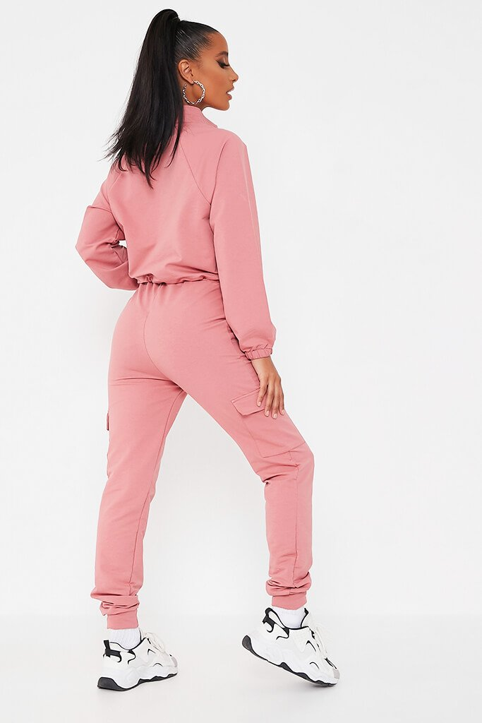 Pink Front Pocket Half Zip Lounge Set view 5