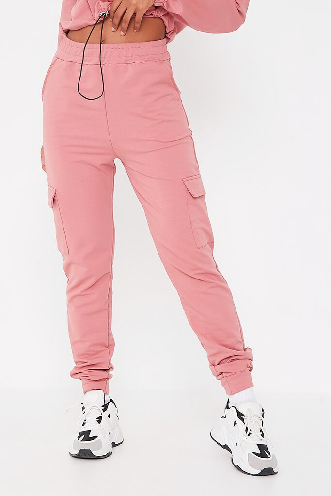 Pink Front Pocket Half Zip Lounge Set view 4