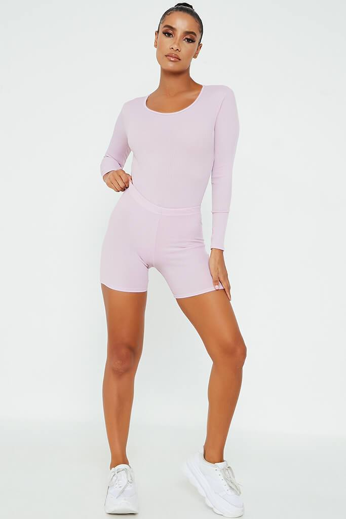 Lilac Rib Crop Cycling Short view 2