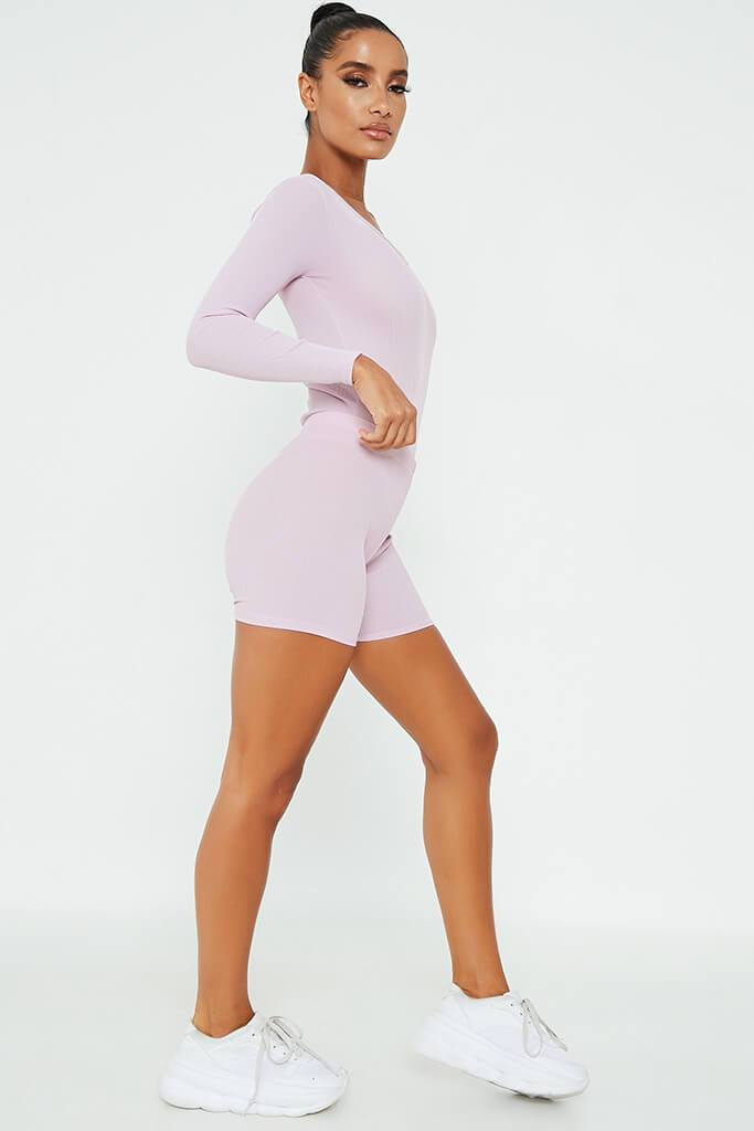 Lilac Rib Crop Cycling Short view 3