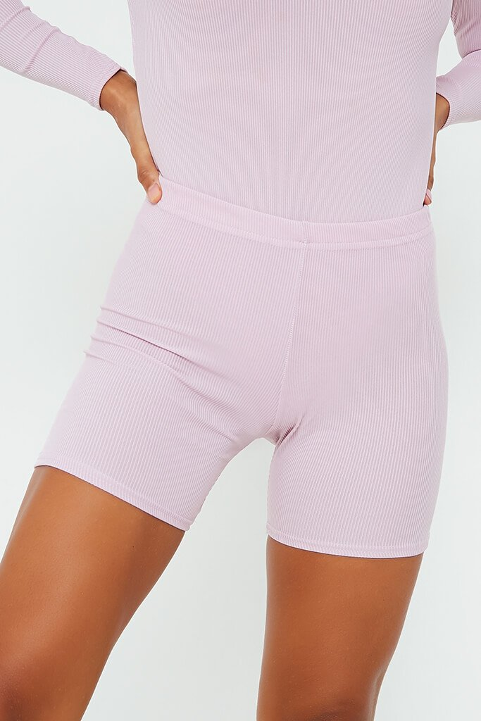 Lilac Rib Crop Cycling Short view 4