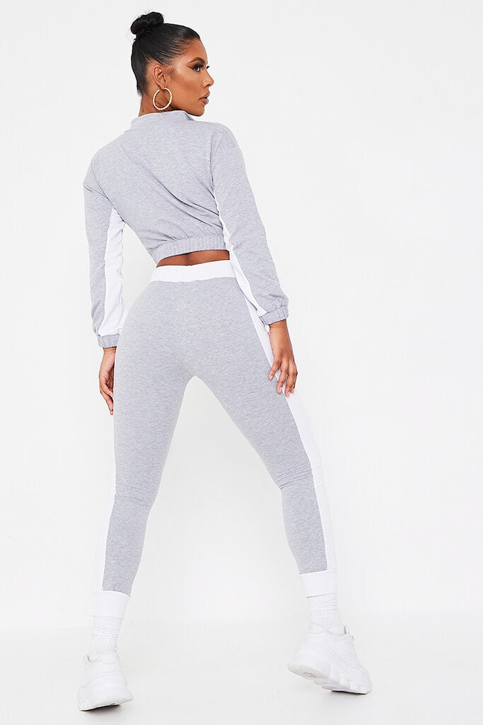 Grey Colour Block Half Zip Tracksuit view 5