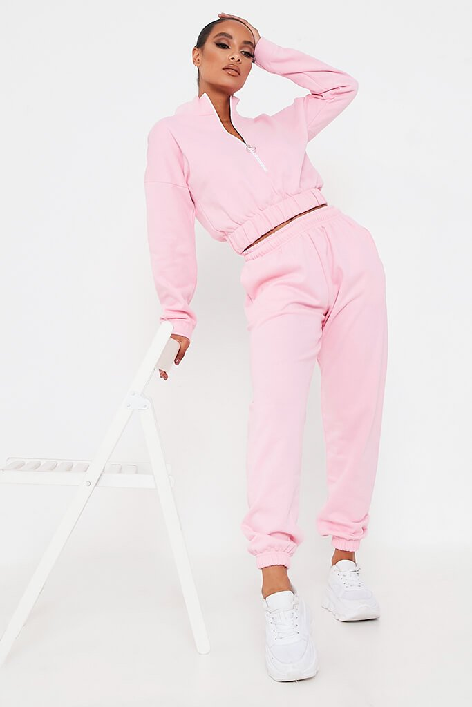 Pink Half Zip Jumper And Joggers Set view main view