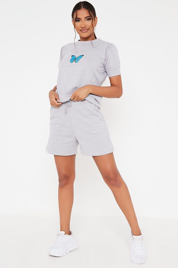 Grey Marl Butterfly Embroidered Short Loungewear Set view 2