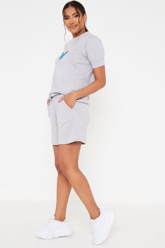 Grey Marl Butterfly Embroidered Short Loungewear Set view 3