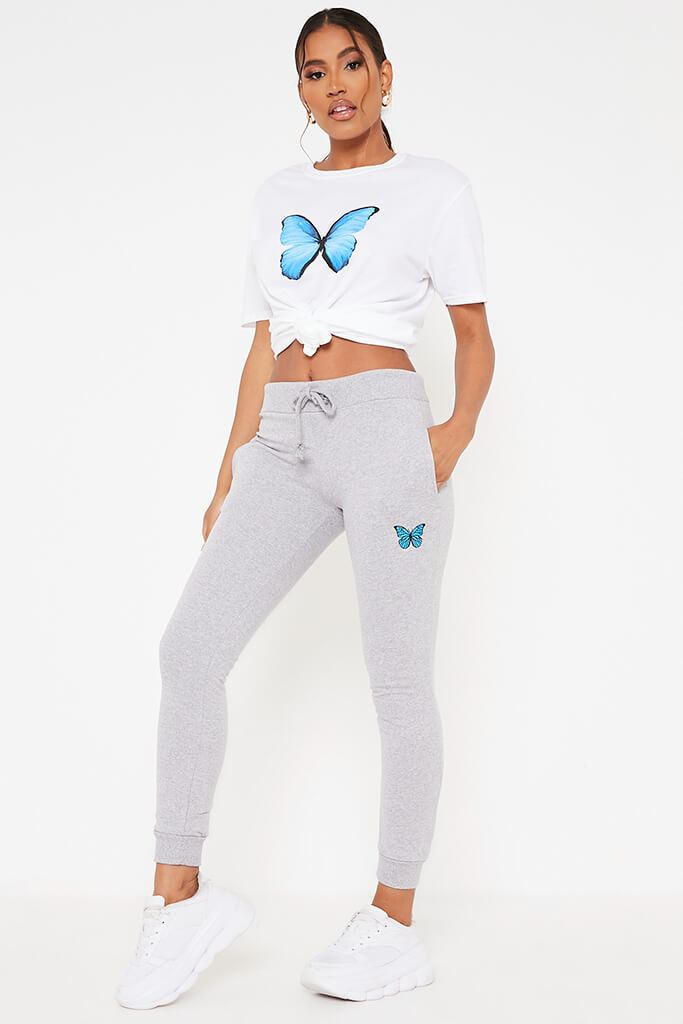 Grey Marl Butterfly Embroidered Jogger