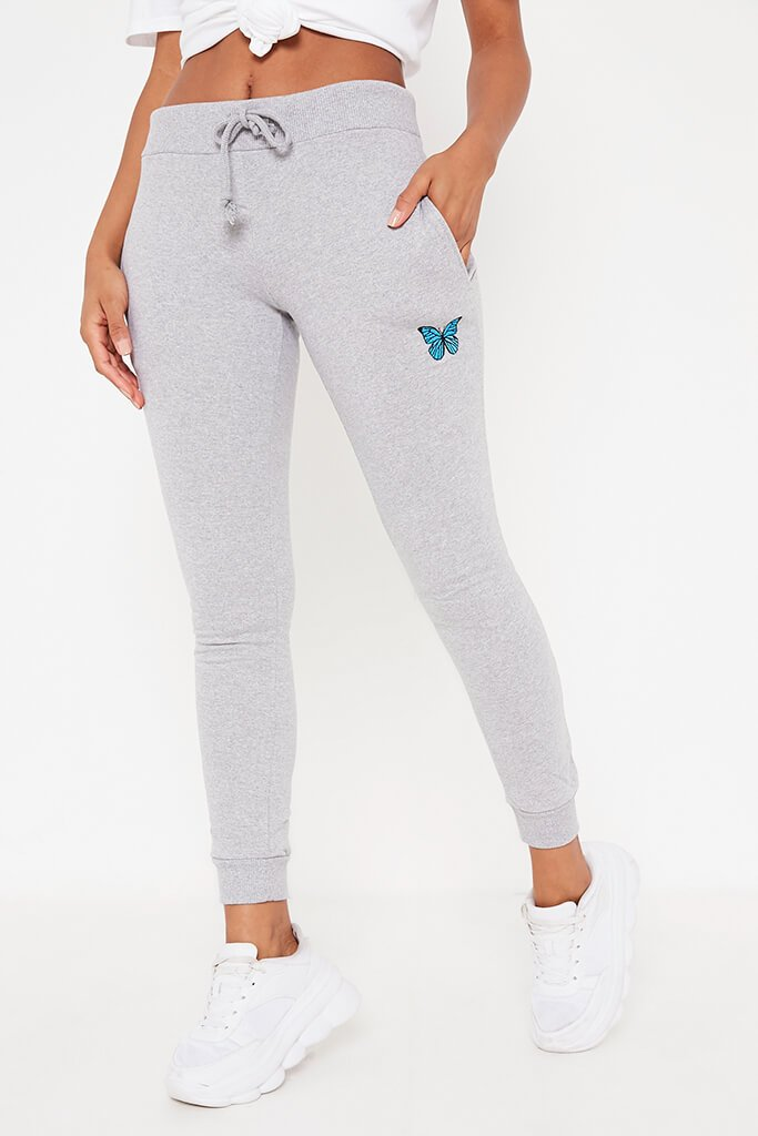 Grey Marl Butterfly Embroidered Jogger view 2