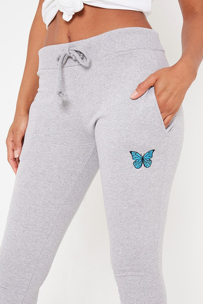 Grey Marl Butterfly Embroidered Jogger view 4