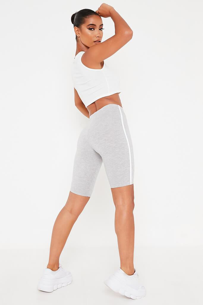 Grey Single Side Stripe Cycling Short view 5