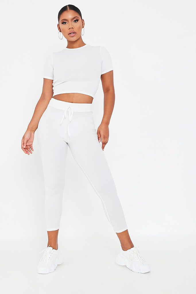 White Rib Fitted Crop T Shirt view 2