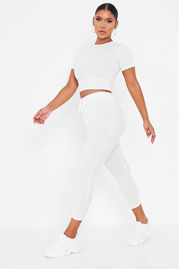 White Rib Fitted Crop T Shirt view 3