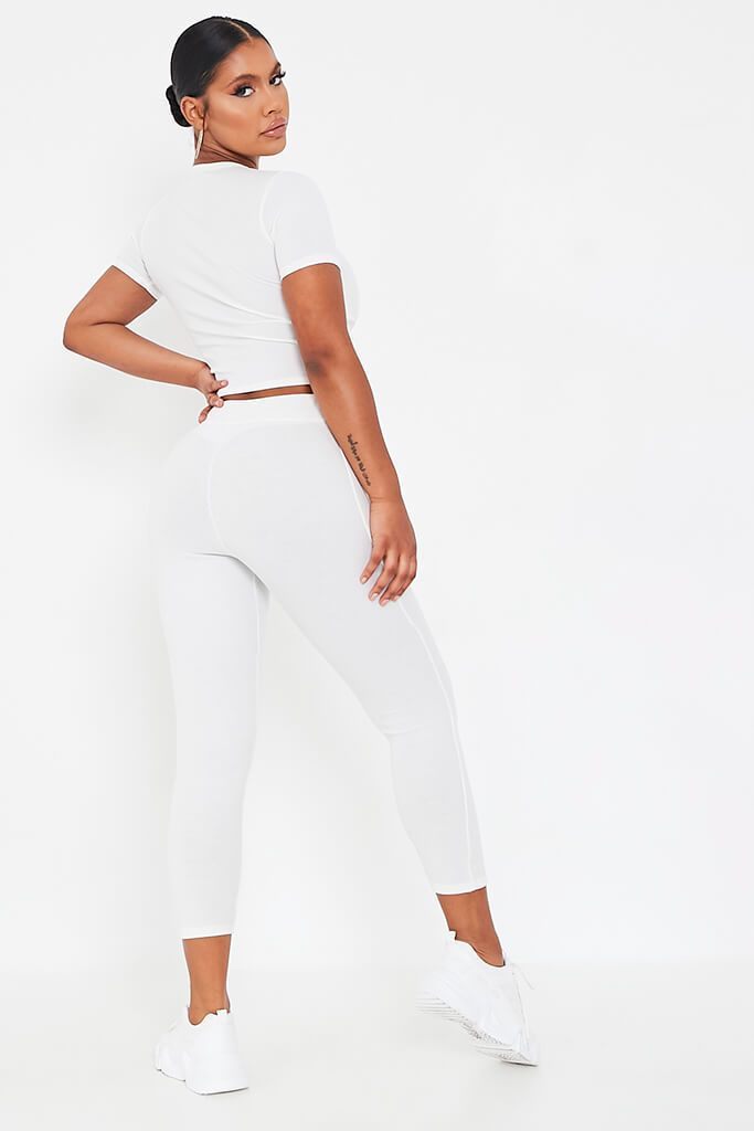 White Rib Fitted Crop T Shirt view 5