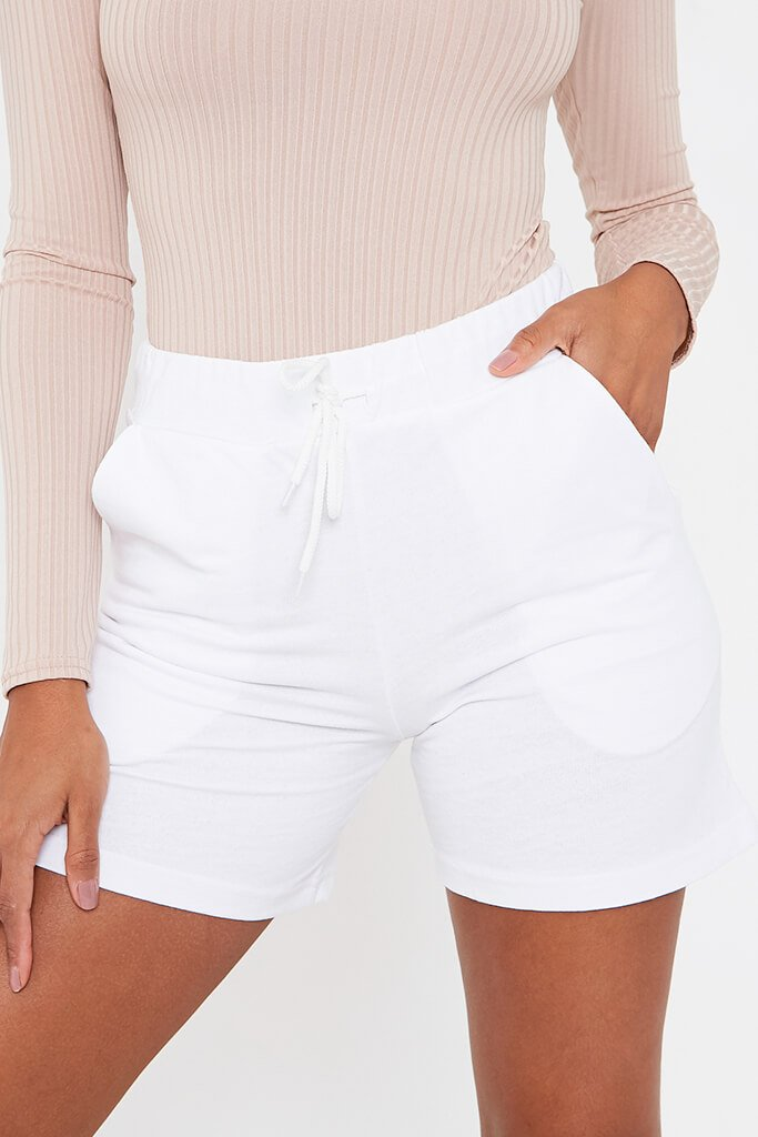 White Turn Up Drawcord Short view 4