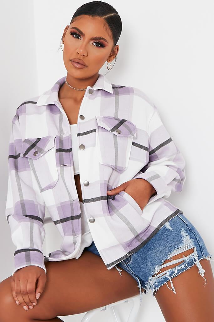 Lilac Check Print Shacket view 2