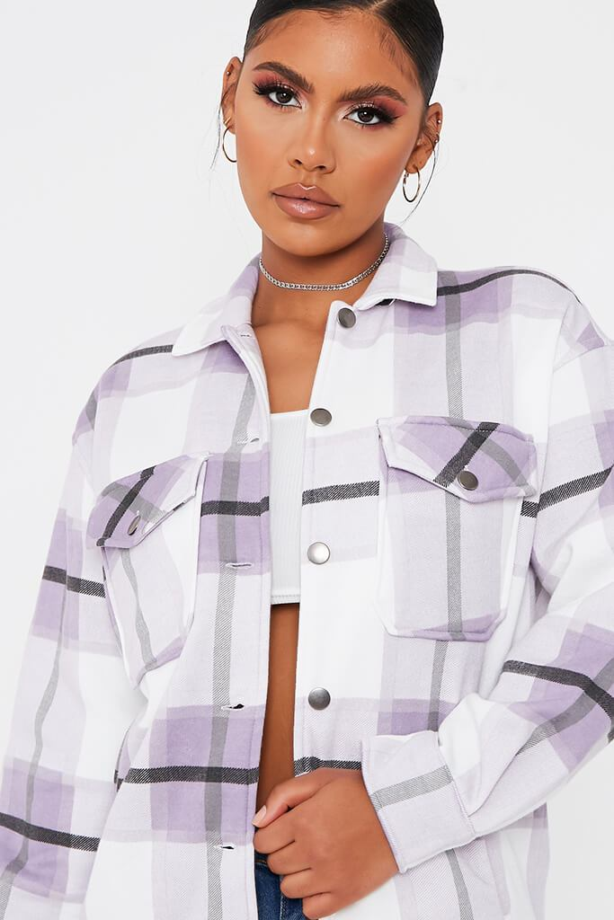 Lilac Check Print Shacket view 4