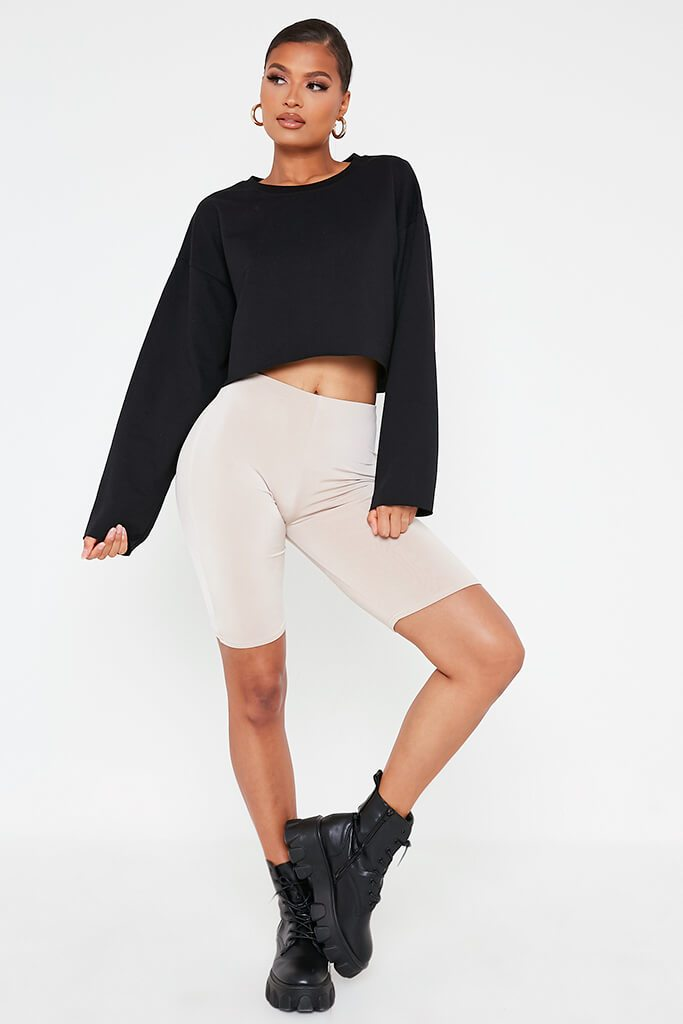 Black Raw Hem Cropped Sweatshirt view 2