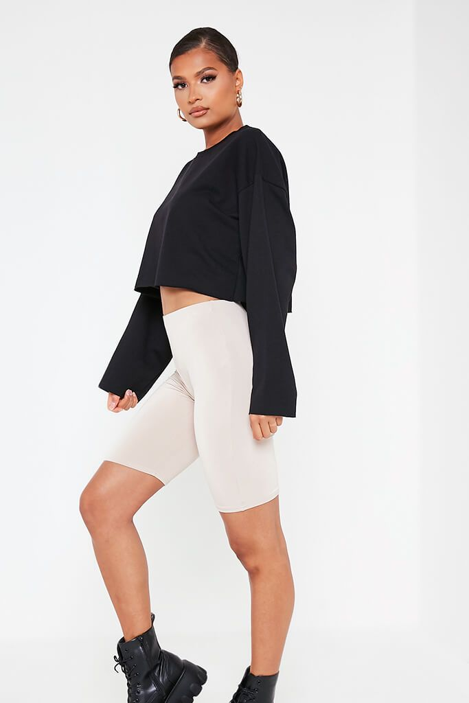 Black Raw Hem Cropped Sweatshirt view 3