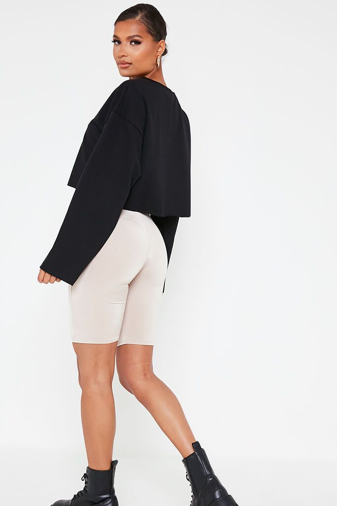 Black Raw Hem Cropped Sweatshirt view 5