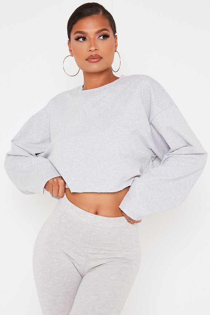 Grey Raw Hem Cropped Sweatshirt view 2