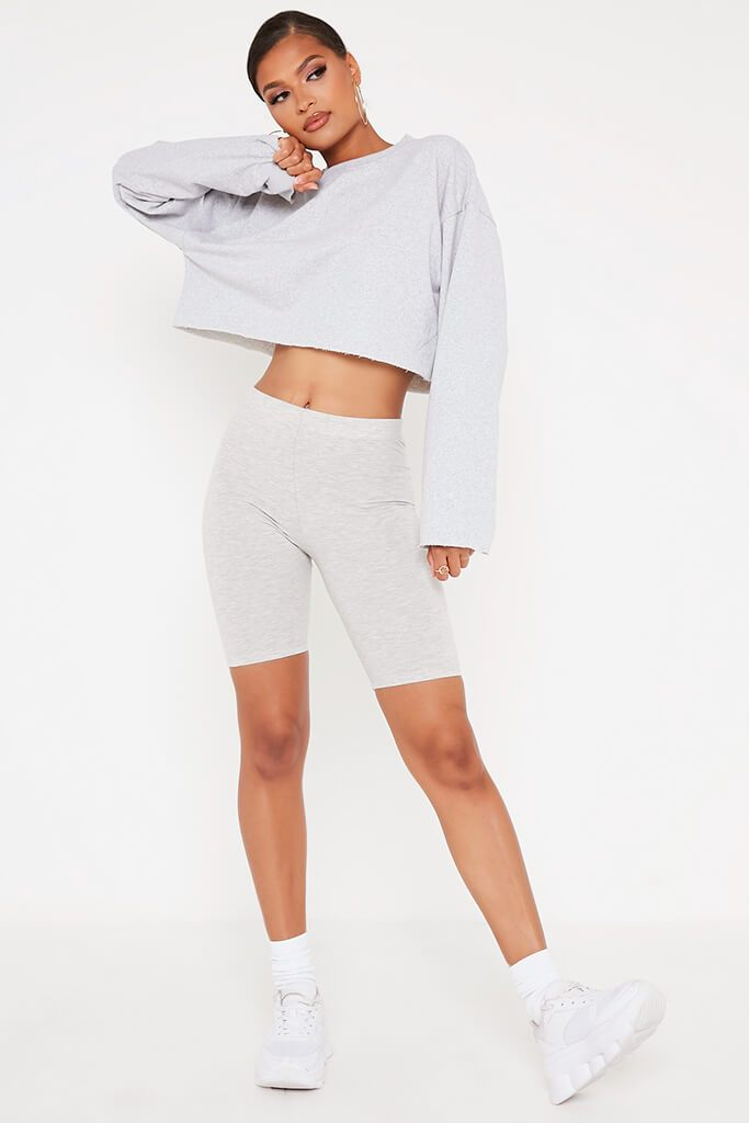 Grey Raw Hem Cropped Sweatshirt view 3