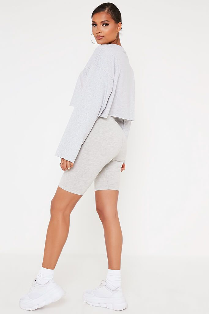 Grey Raw Hem Cropped Sweatshirt view 5