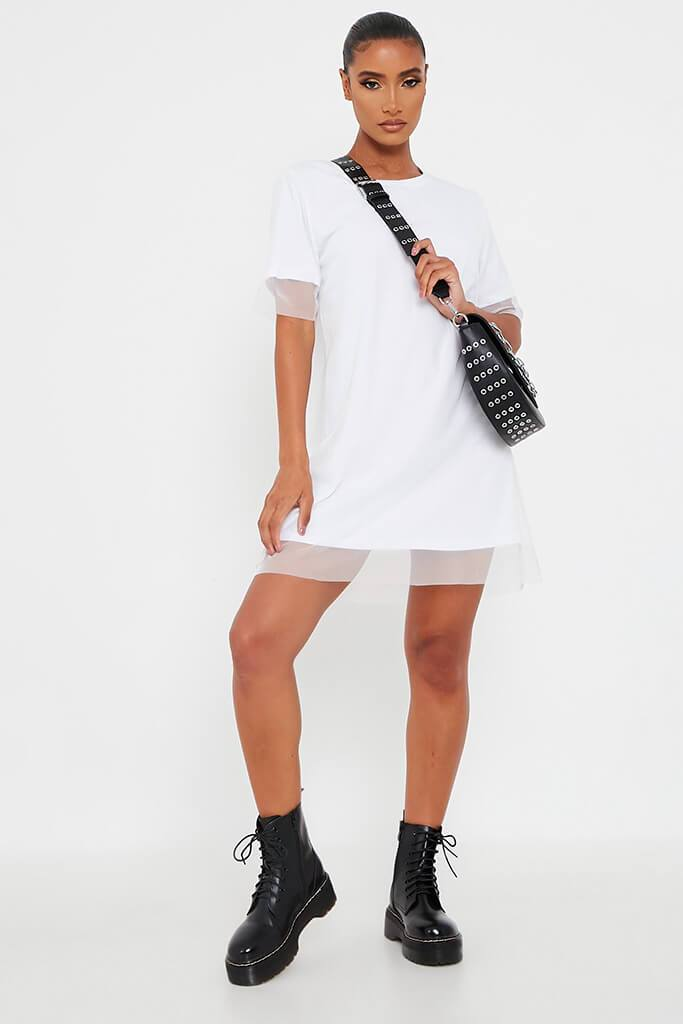 White Mesh Layered T Shirt Dress