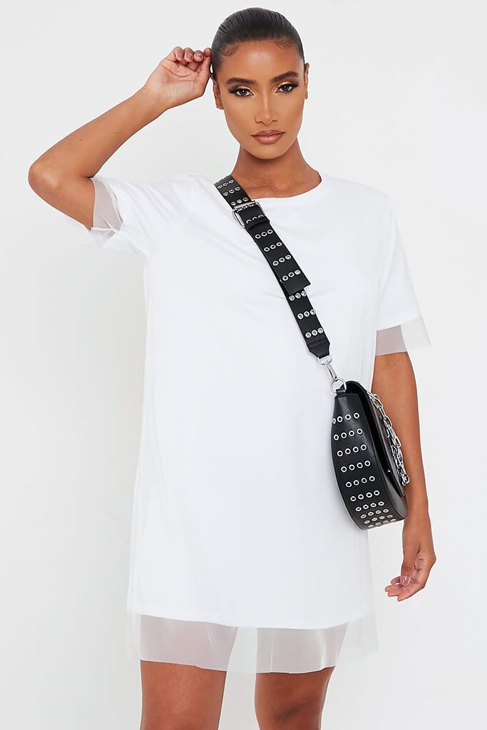 White Mesh Layered T Shirt Dress view 2