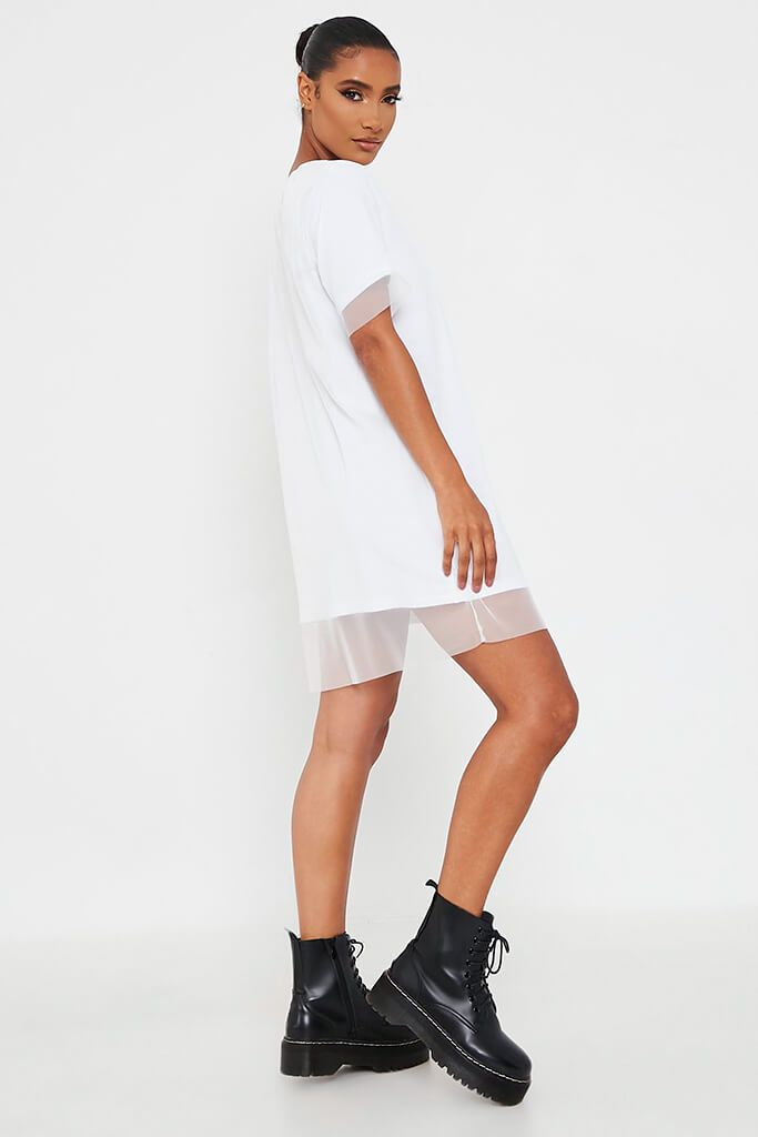 White Mesh Layered T Shirt Dress view 3