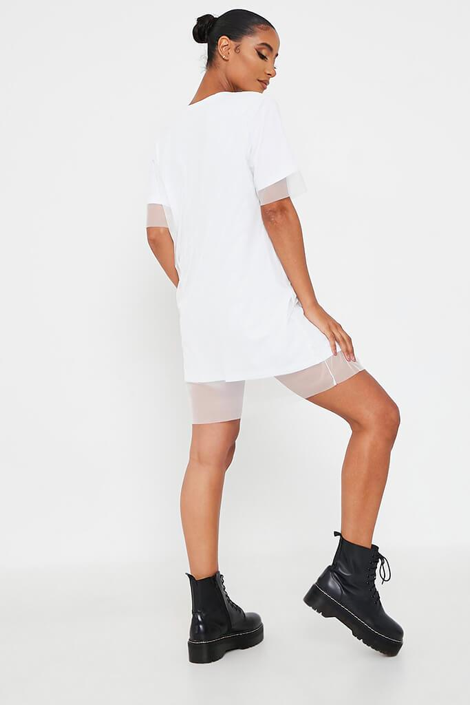 White Mesh Layered T Shirt Dress view 5