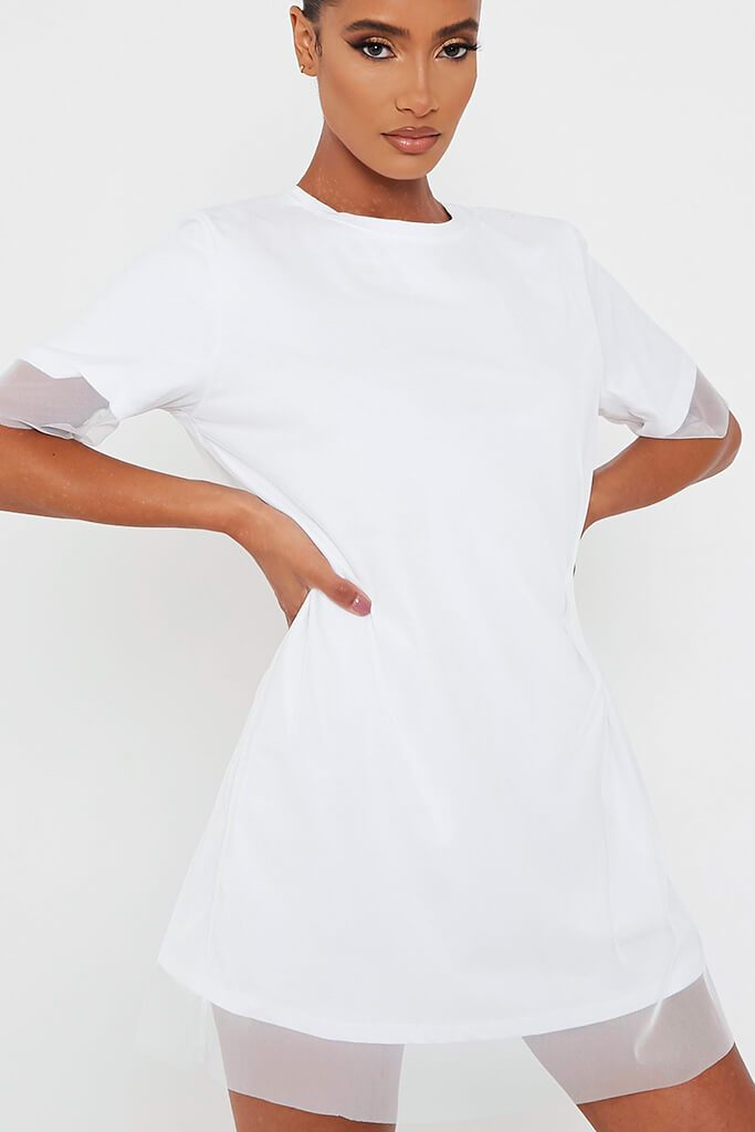 White Mesh Layered T Shirt Dress view 4