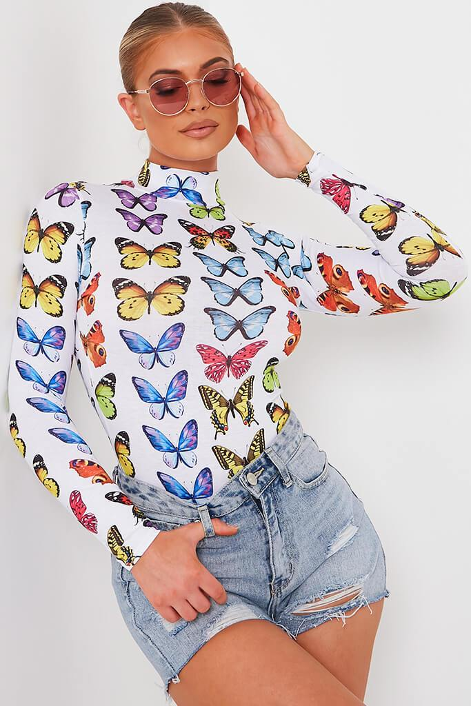 White Butterfly Print High Neck Bodysuit view main view