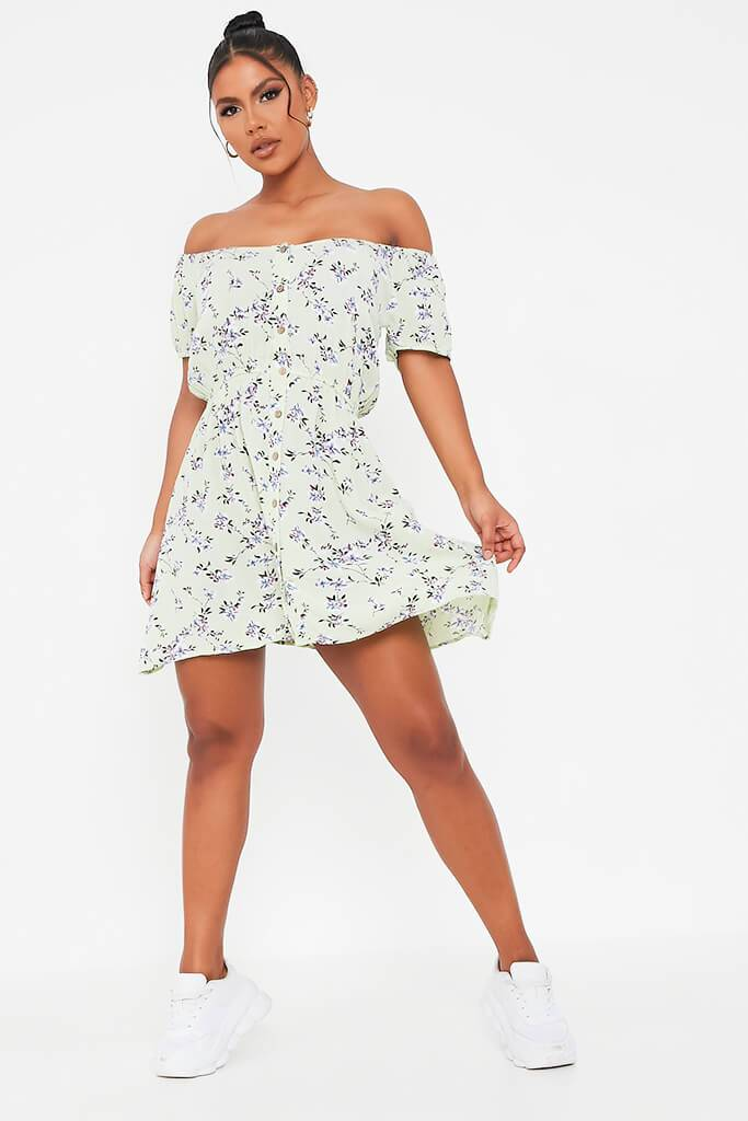 Sage Ditsy Floral Print Smock Dress view 2