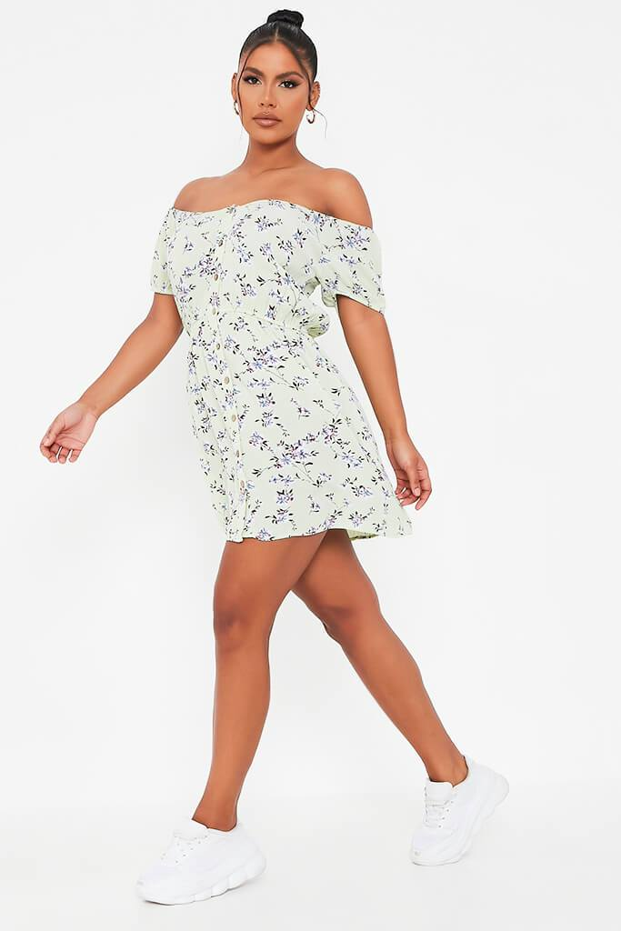 Sage Ditsy Floral Print Smock Dress view 3