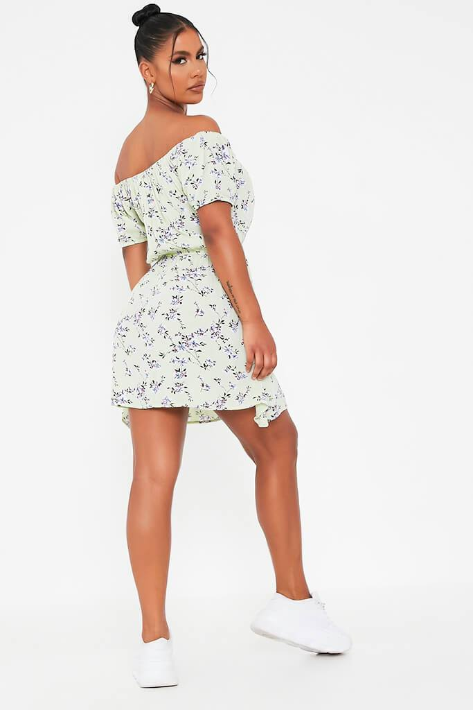 Sage Ditsy Floral Print Smock Dress view 5