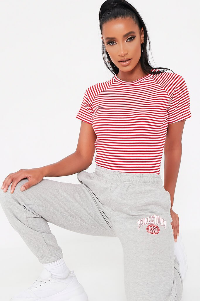 Red Stripe Crew Neck Short Sleeve T Shirt
