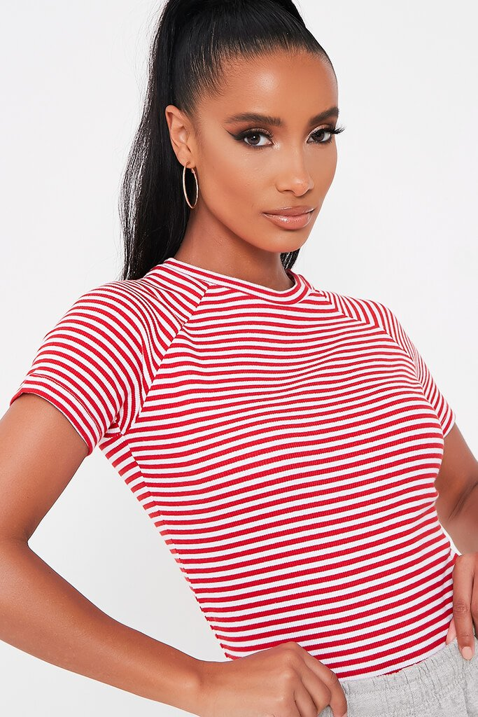 Red Stripe Crew Neck Short Sleeve T Shirt view 4