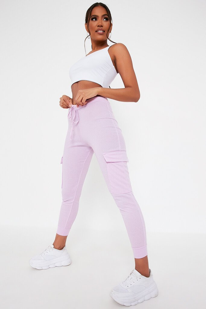 Lilac Ribbed Cargo Pocket Joggers view main view