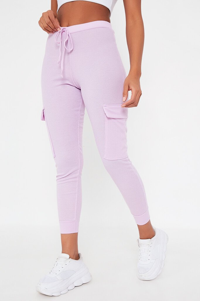 Lilac Ribbed Cargo Pocket Joggers view 2