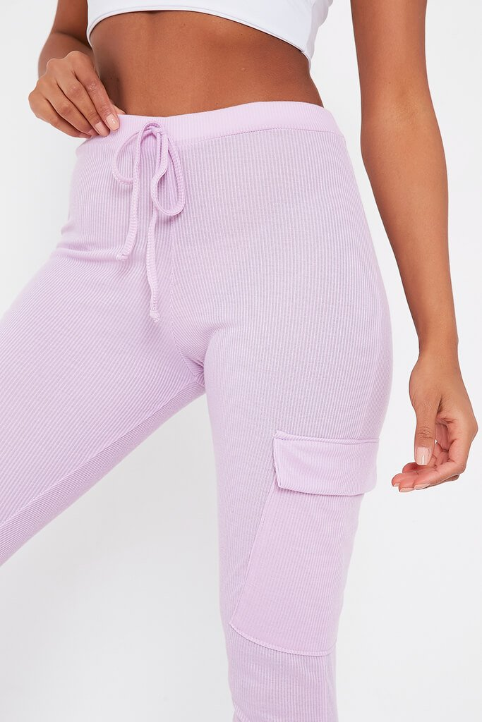 Lilac Ribbed Cargo Pocket Joggers view 4