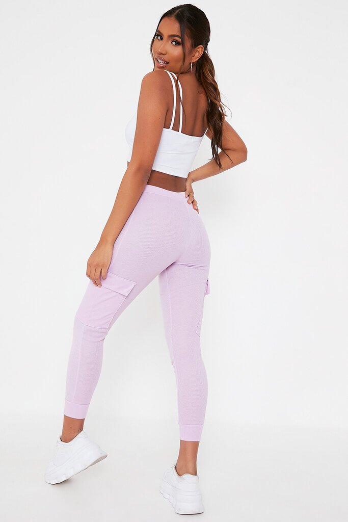 Lilac Ribbed Cargo Pocket Joggers view 5