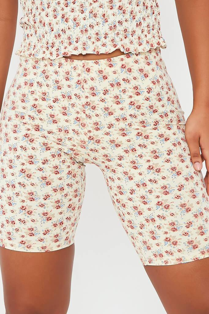 Cream Floral Print Cycling Short view 4