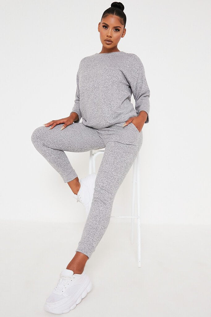 Grey Marl Oversized Soft Touch Loungewear Set