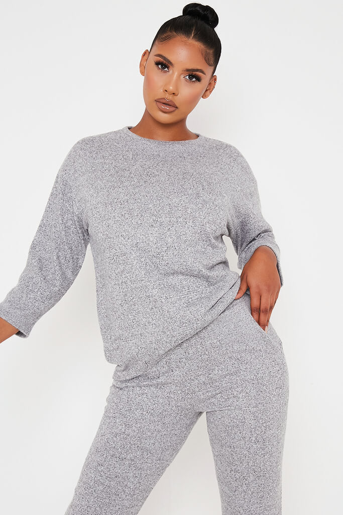 Grey Marl Oversized Soft Touch Loungewear Set view 2