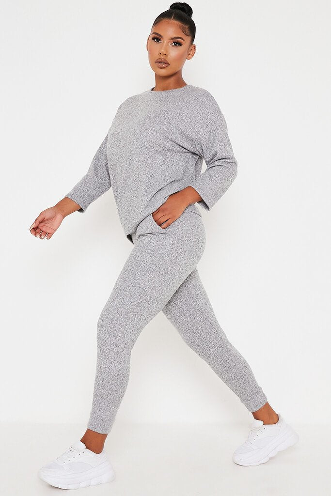 Grey Marl Oversized Soft Touch Loungewear Set view 3