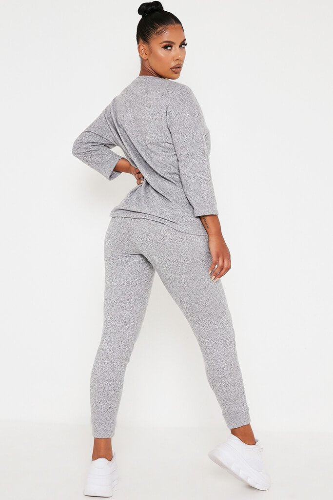 Grey Marl Oversized Soft Touch Loungewear Set view 5